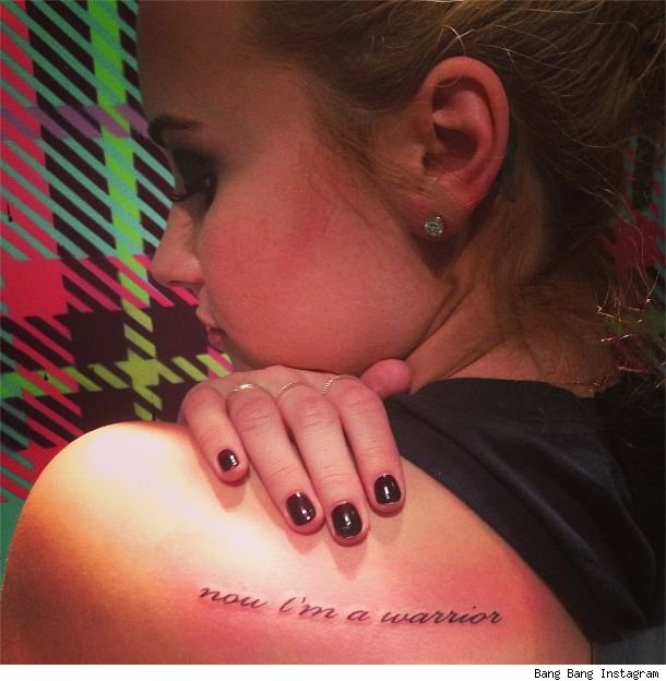 Demi Lovato new tattoo now I'm a warrior pic instagram photo