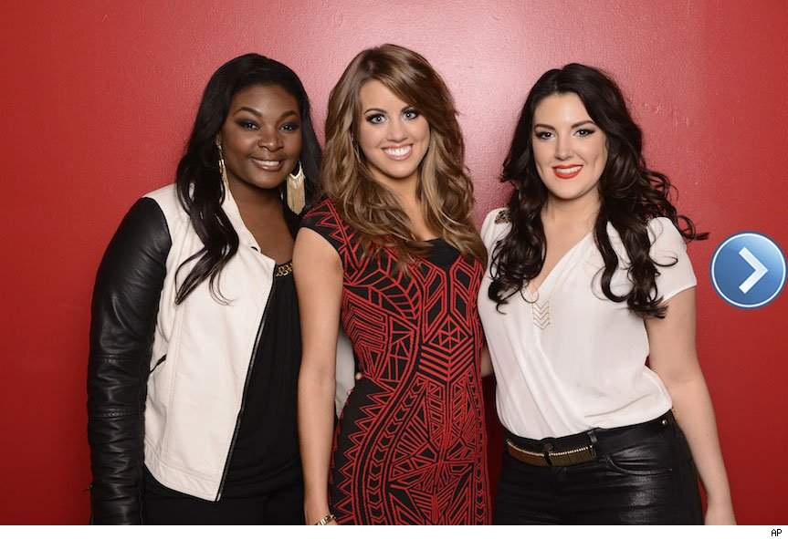 American Idol top 3. Candice Glover, Angie Miller and Kree Harrison.
