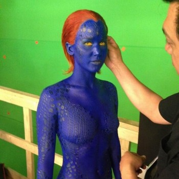 First Look: Jennifer Lawrence Wears Blue Body Paint as Mystique in 'X-Men' Sequel