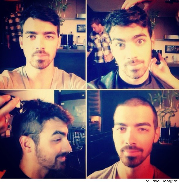 Joe Jonas shaves head buzz cut video pics