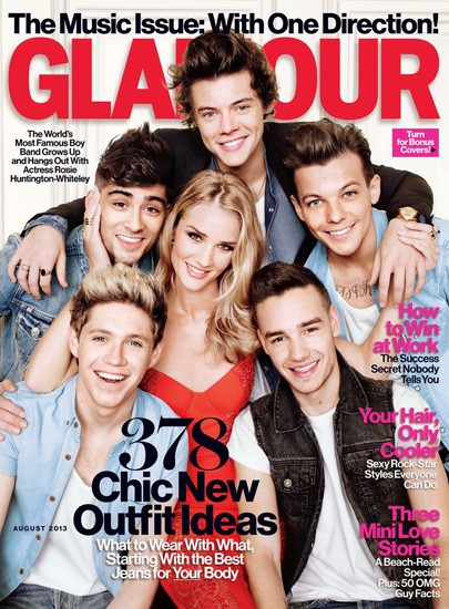 One Direction Rosie Huntington Whitely Glamour magazine cover pic