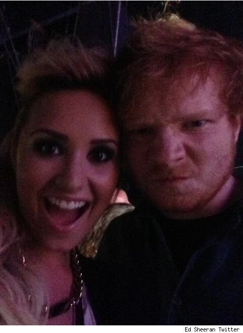 Demi Lovato and Ed Sheeran at 2013 Teen Choice Awards