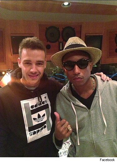Liam Payne and Pharrell Williams recording studio pic