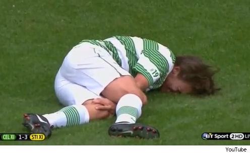 Louis Tomlinson injured in football soccer game throws up video