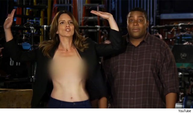 Tina Fey nip slip wardrobe malfunction snl saturday night live promo video