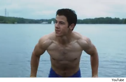 Nick Jonas shirtless Careful What You Wish For teaser trailer video