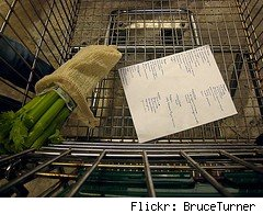 grocery list in a cart