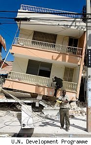 Earthquake damanged house