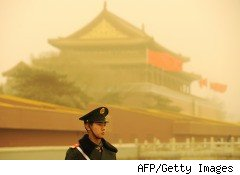 Pollution near Tiananmen Square in Beijing