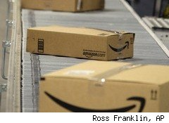 Amazon boxes on conveyor belt