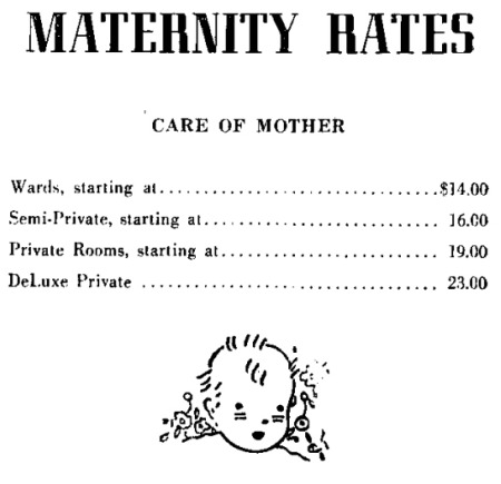 Maternity price chart