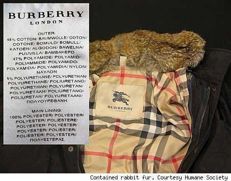 Burberry jacket actually contained rabbit fur