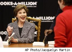Books-A-Million (BAMM), the third-largest brick-and-mortar bookstore chain posted sluggish results Thursday afternoon for the first quarter ending on May 1. Pictured, Laura Bush at a book-signing for her recently released memoir.