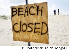 The beach at Grand Isle, La., is closed for oil spill cleanup