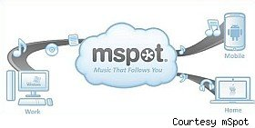 mSpot stores your music in the cloud, streams it to your phone