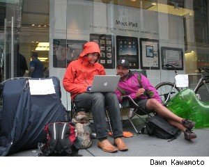 iPhone 4 customer Chris Bank looks to rent the No. 1 spot in line at an Apple store