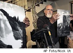 Rick Norsigian shows photo proported to be taken by Ansel Adams
