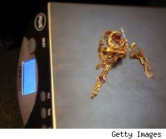Jewelery scale weighing gold