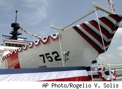 U.S. Coast Guard National Security cutter Stratton at the Northrop Grumman Shipbuilding facility in Pascagoula, Miss.
