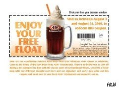 A7W Root Beer float coupon