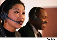 woman working at a call center