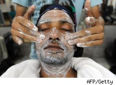 Man gets a facial at a spa