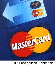 Mastercard logo and credit card