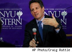 Treasury Secretary Timothy Geithner pledged a speedy financial overhaul at a speech at New York University's Stern School of Business.