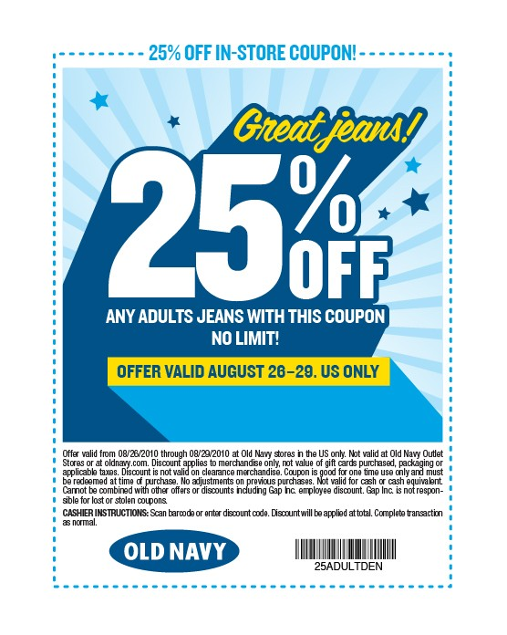 All Old Navy Adult Jeans 25 Off Through Sunday With This