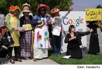 The Raging Grannies contingent from Menlo Park, Calif.