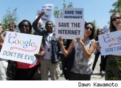 Protestors gathered outside Google's headquarters.