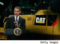 Obama at a Caterpillar factory