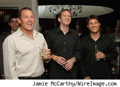 Lance Armstrong, Doug Ulman, President of the Lance Armstrong Foundation, and Richard Rosenblatt, CEO of Demand Media