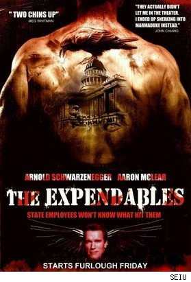 The SEIU's spoof of the movie poster for The Expendables.