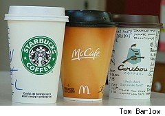 Starbucks, McDonald's and Caribou cups of hot chocolate
