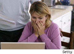 woman shocked surprised laptop