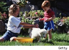 Kids bathing their dog