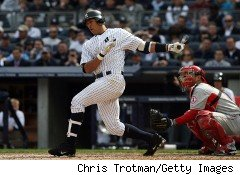 Alex Rodriguez of the Yankees hits two runs against the Angels in the Yankees home opener in April 2010.