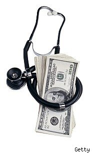 stethoscope and pile of money