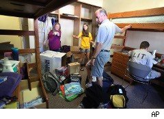 Freshmen moving into a dorm