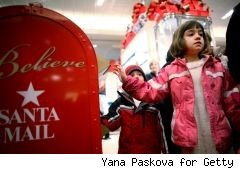 little girl mailing letter to santa at Macy's