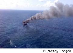 Mariner Energy oil rig burning