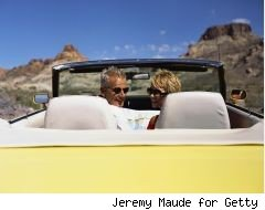 cross-country road trip should be free - couple in convertible