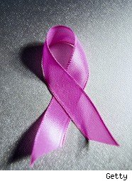 Pink ribbon symbol of the fight against breast cancer