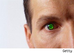 Man with a contact lens that changes his eye color