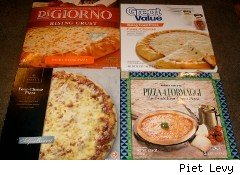 Four brands of frozen pizza