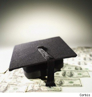 Mortar board on top of cash - for money college post