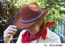 Marlene with a cowboy hat on