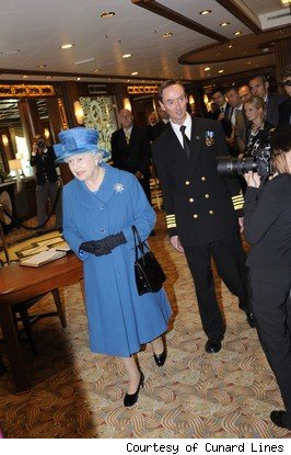 Queen Elizabeth II tours the latest QE luxury liner by Cunard Lines