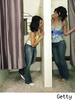 two young women in a dressing room